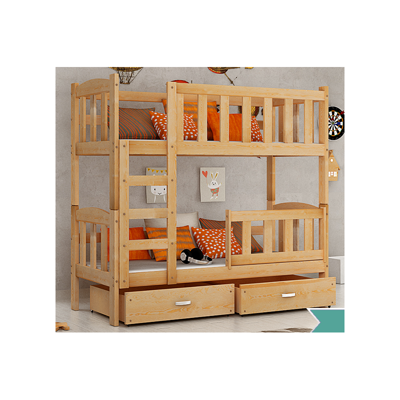 lit superpos en bois massif bambi avec tiroirs 160x70 cm. Black Bedroom Furniture Sets. Home Design Ideas
