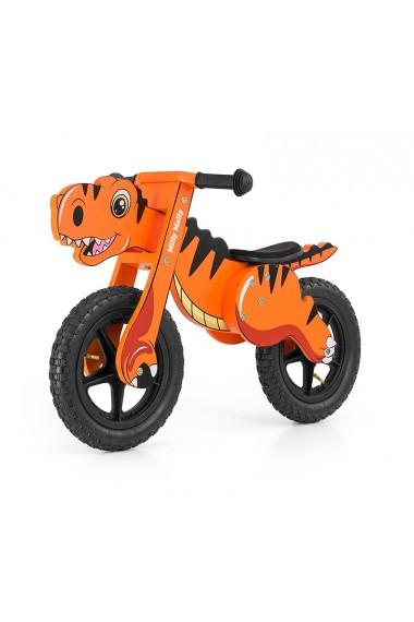 Dino orange - draisienne bois de vélo sans pédales