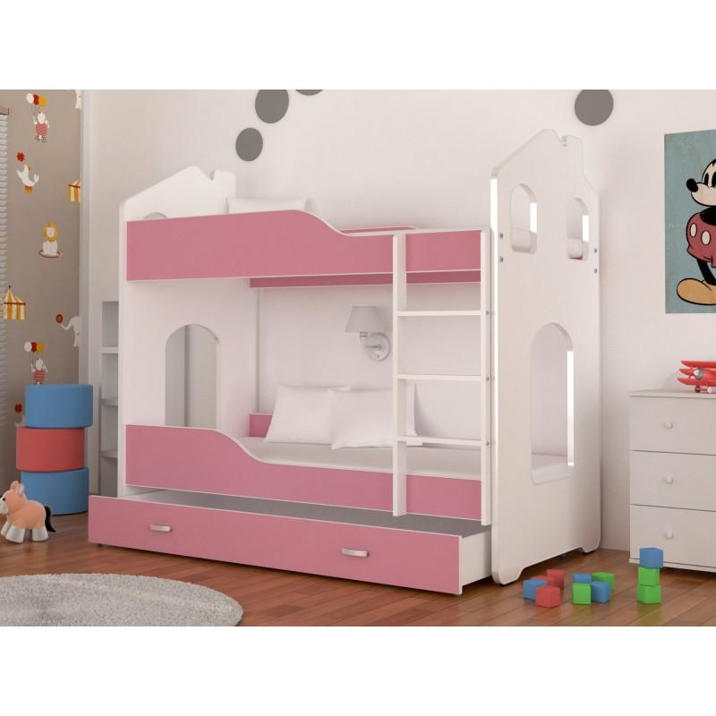 Lit superpos avec matelas cabane maisonnette 180x80 cm - Matelas pour lit superpose ...