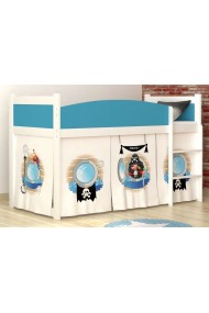 Lit mezzanine surélevé Pirates 1 avec matelas et rideau