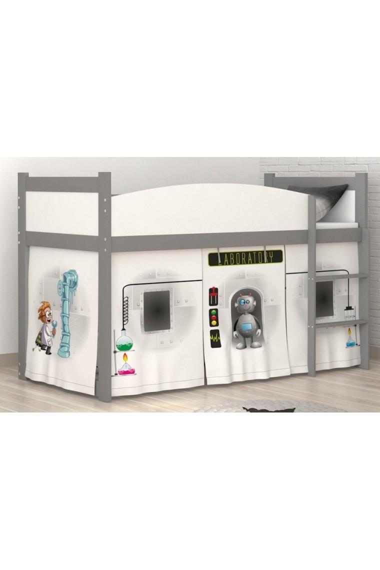 Lit mezzanine sur lev laboratoire avec matelas et rideau - Rideau lit mezzanine ...