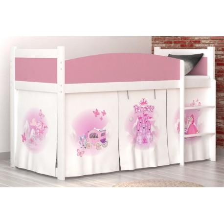 Lit mezzanine surélevé Princesse avec matelas et rideau