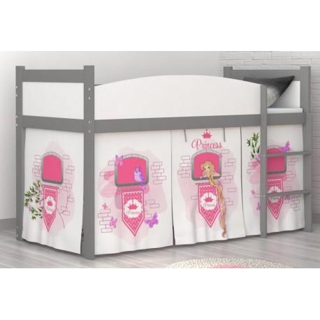 Lit mezzanine surélevé Tour de Princesse avec matelas et rideau