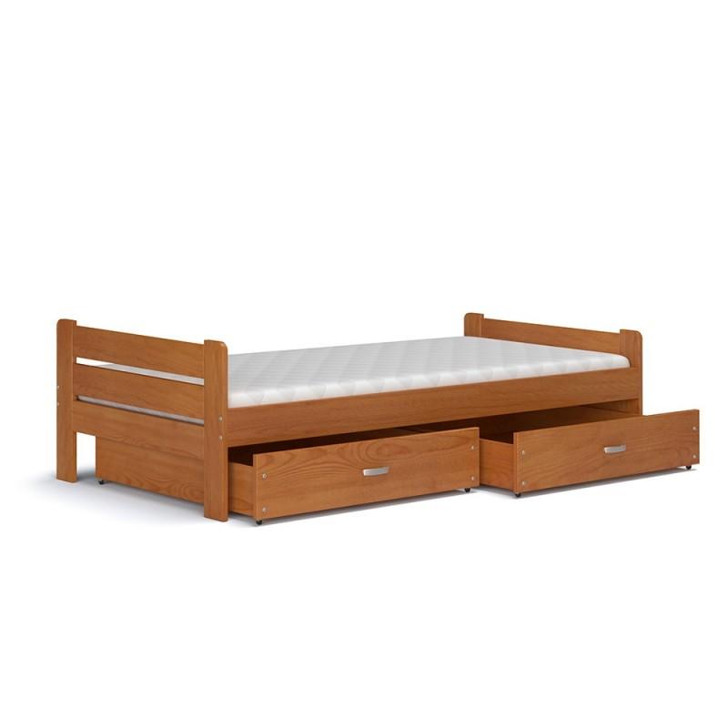 Lit en bois de pin massif bruno avec tiroirs et matelas 200x90 cm - Lit en bois avec tiroir ...