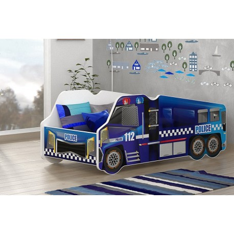 Lit camion de la Police avec matelas 140x70 cm