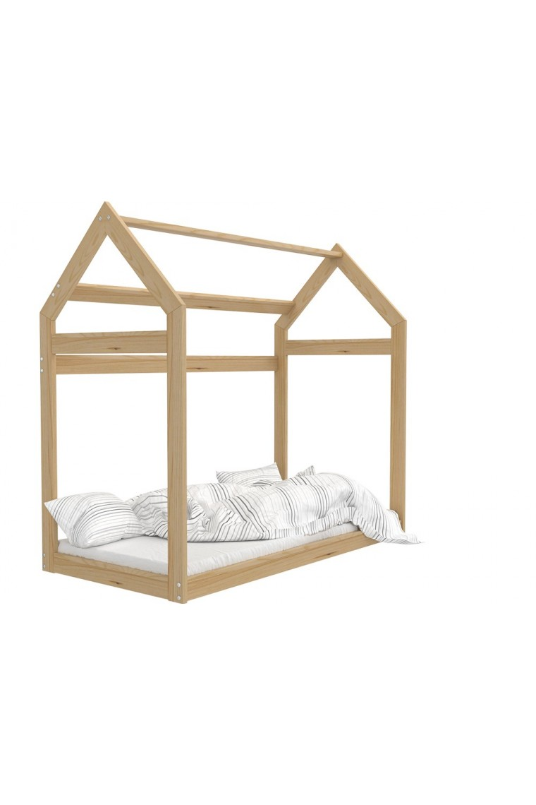 lit enfant en bois de pin massif cabane maisonnette 180x80 cm. Black Bedroom Furniture Sets. Home Design Ideas