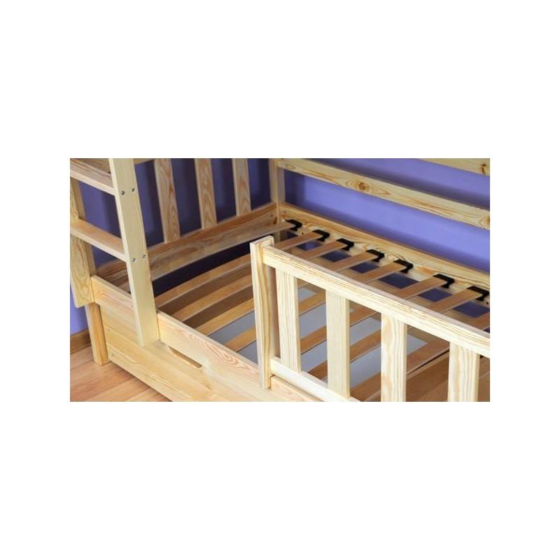 lit superpos avec lit gigogne en bois massif jacob 3 160x80 cm. Black Bedroom Furniture Sets. Home Design Ideas