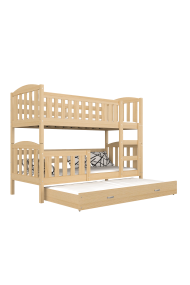 Lit superposé avec lit gigogne en bois massif Jacob 3 160x80 cm