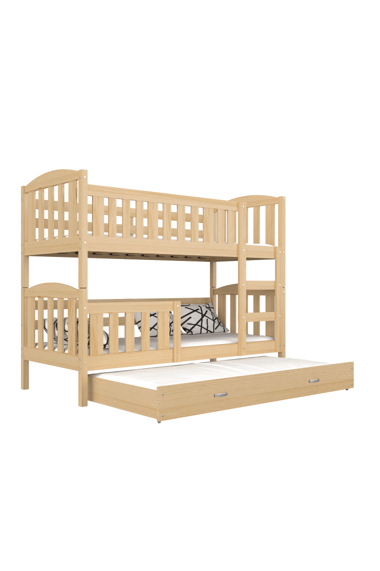 lit superpos avec lit gigogne en bois massif jacob 3 160x80 cm. Black Bedroom Furniture Sets. Home Design Ideas