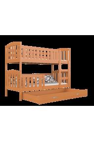 Lit superposé en bois massif Jacob 2 avec tiroir 160x80 cm