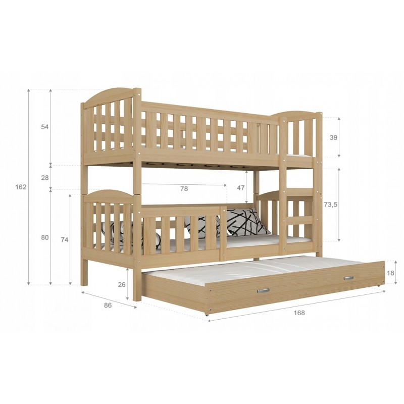 2a0a220f1f6ff8 Lit superposé en bois massif Jacob 2 avec tiroir 160x80 cm