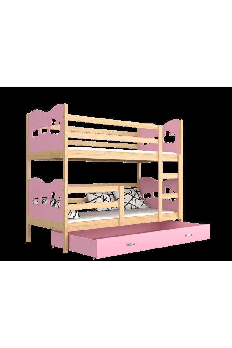 lit superpos en bois massif 190x80 cm train papillons coeurs. Black Bedroom Furniture Sets. Home Design Ideas