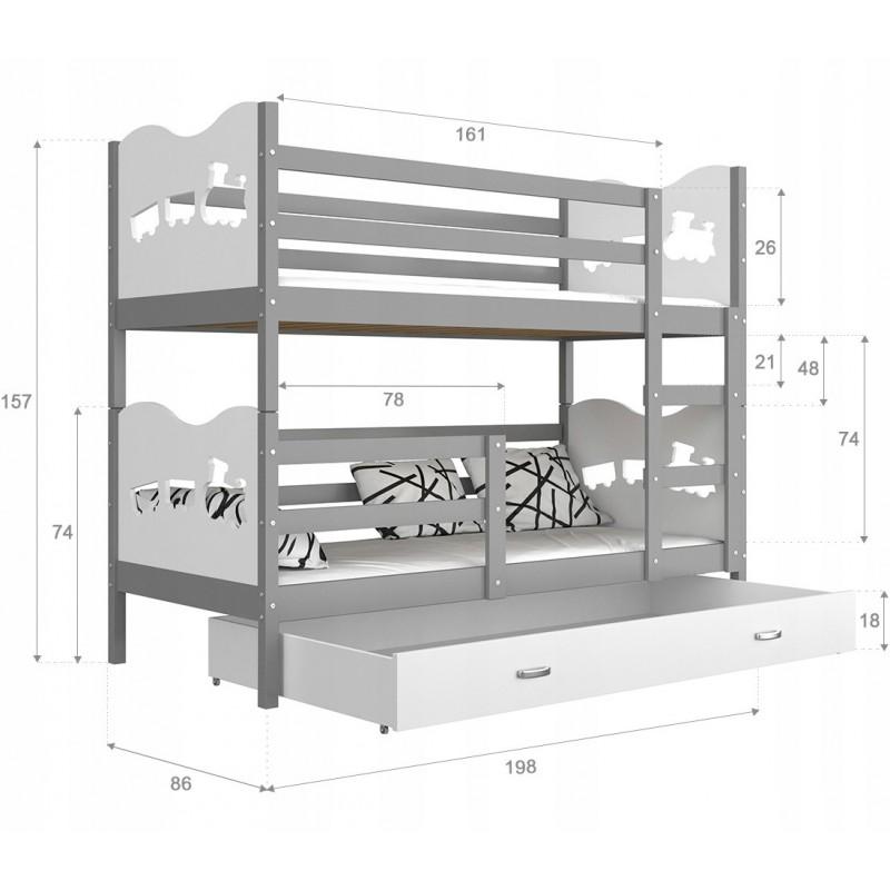 25a7359d130308 Lit superposé en bois massif 190x80 cm Train Papillons Coeurs
