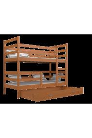 Lit superposé en bois massif Jack avec tiroir 190x80 cm