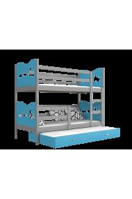 Lit superposé avec lit gigogne 190x80 cm Train Papillons Coeurs