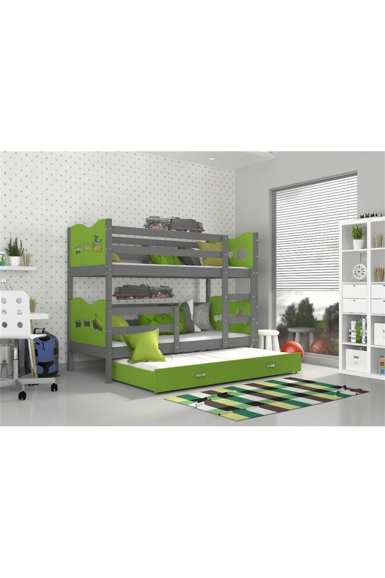 Lit superpos avec lit gigogne 190x80 cm train papillons - Lit superpose avec lit gigogne ...