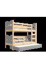 Lit superposé avec lit gigogne avec matelas et tiroir 180x80 cm