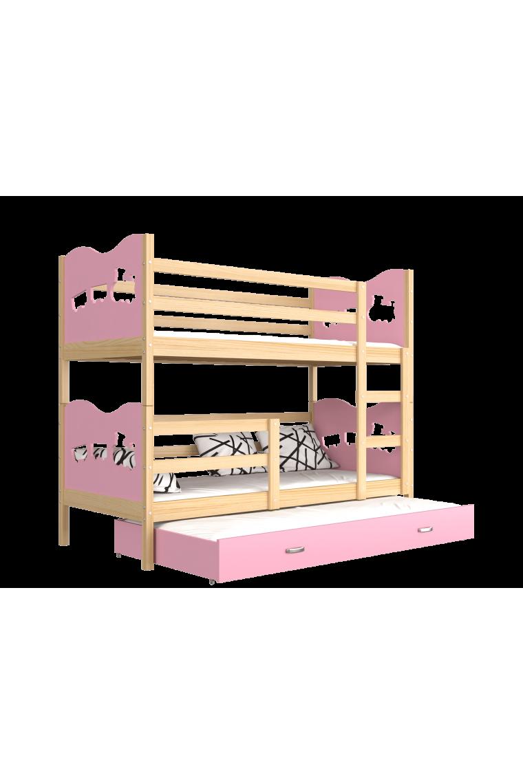 lit superpos avec lit gigogne 190x80 cm train papillons coeurs. Black Bedroom Furniture Sets. Home Design Ideas