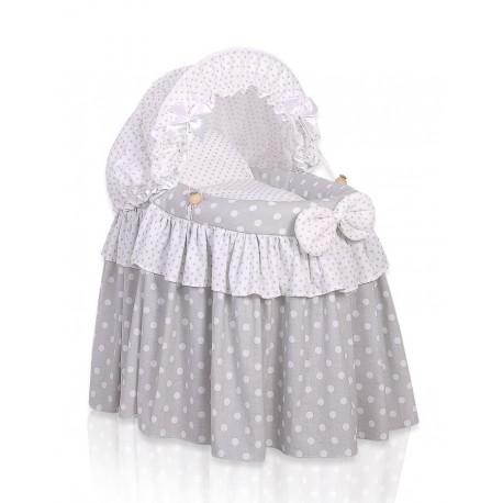 Berceau osier pour poupée gris