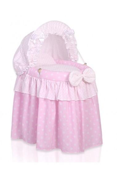 Berceau osier pour poupée rose
