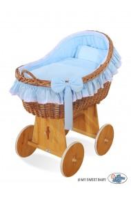 Berceau bébé osier Carine - Bleu