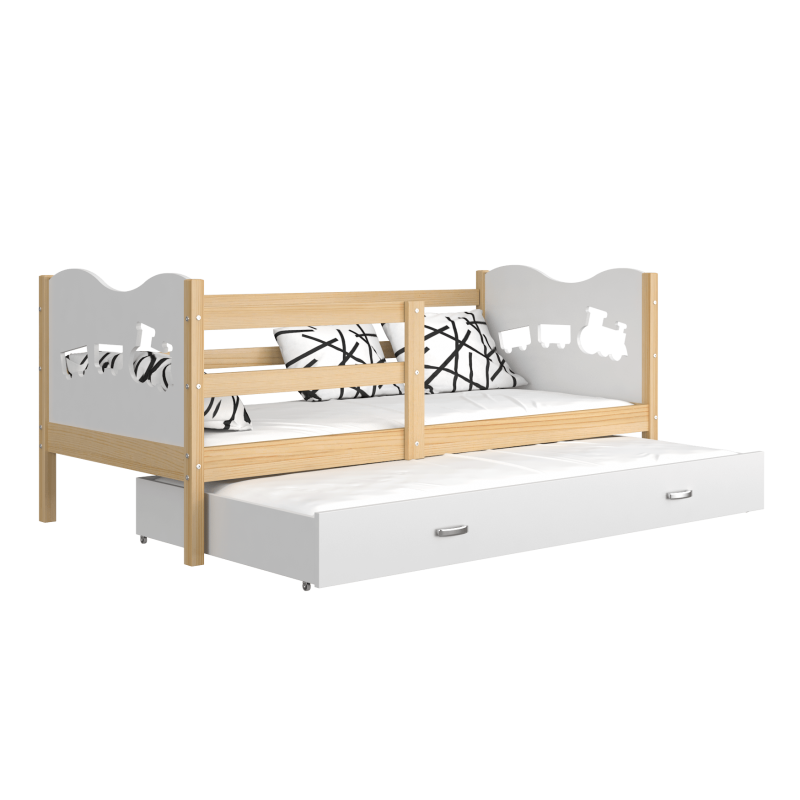 lit gigogne en bois massif 200x90 cm train papillons coeurs. Black Bedroom Furniture Sets. Home Design Ideas