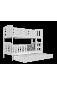 Lit superposé avec lit gigogne en bois massif Jacob 3 200x90 cm
