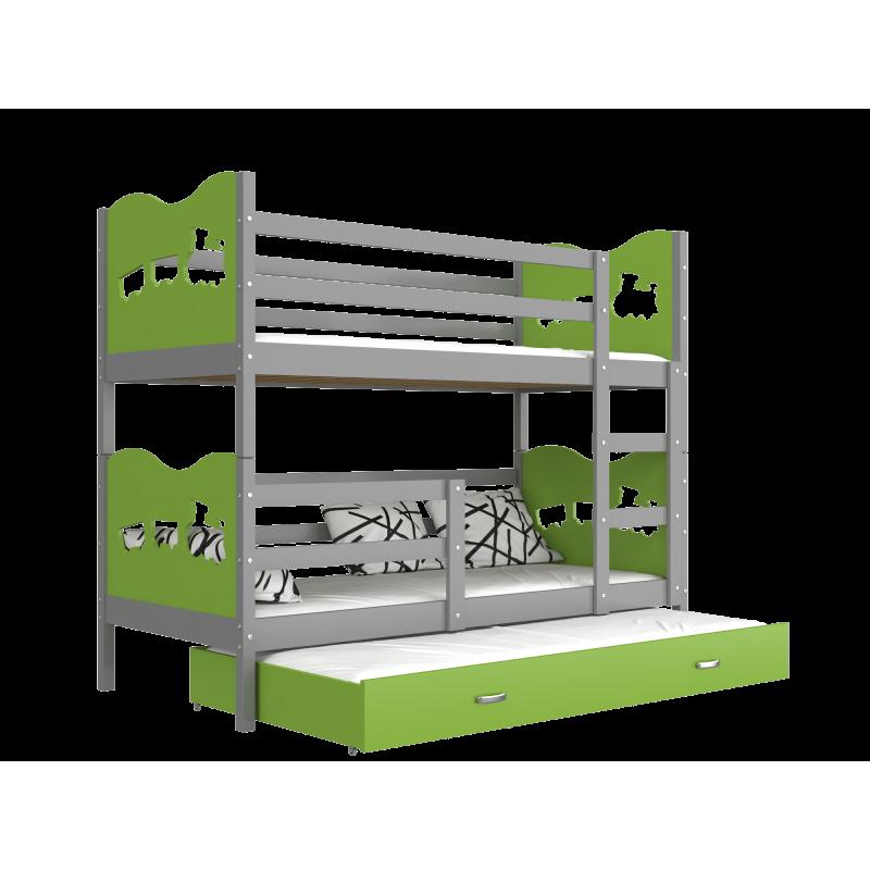 lit superpos avec lit gigogne 200x90 cm train papillons coeurs. Black Bedroom Furniture Sets. Home Design Ideas