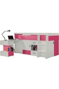 Lit surélevé combiné avec bureau et commode KOMI 200x90 cm