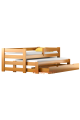 Lit gigogne en bois massif avec tiroir et matelas Pablo 190x90 cm