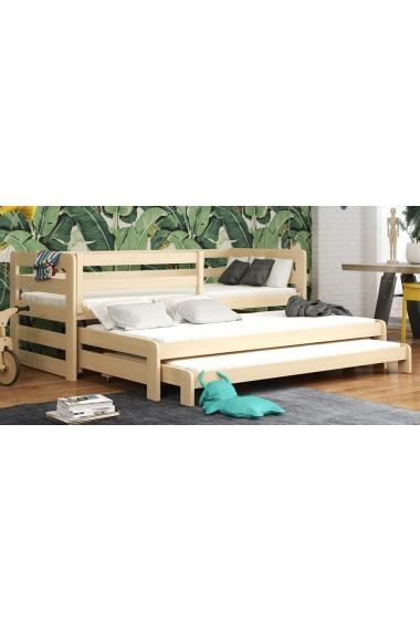Lit gigogne en bois massif pour 3 Rico 180x80 cm