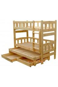 Lit superposé avec lit gigogne Nicolas 3 avec tiroirs 190x90 cm