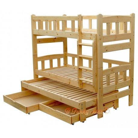 Lit superposé avec lit gigogne Nicolas 3 avec tiroirs 200x90 cm