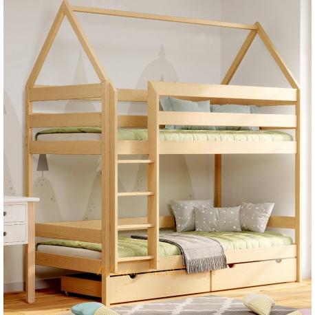 Lit superposé en bois massif Maison 190x90 cm