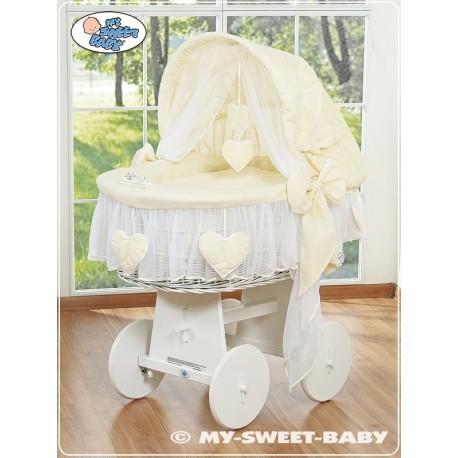 Berceau bébé osier Coeurs - Crème-Blanc