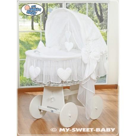 Berceau bébé osier Coeurs - Blanc-Blanc