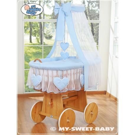 Berceau bébé Coeurs osier - Bleu