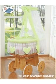 Berceau bébé Coeurs osier - Vert