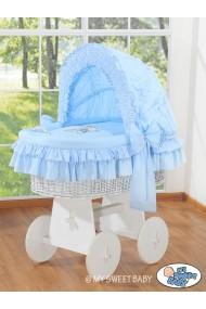 Berceau bébé osier Teddy - Bleu-blanc
