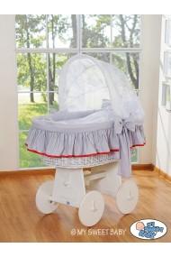 Berceau bébé osier Glamour - Gris-Blanc