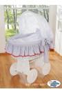 Berceau bébé Glamour osier - Gris-Blanc