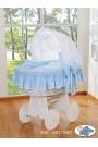 Berceau bébé Glamour osier - Bleu-Blanc