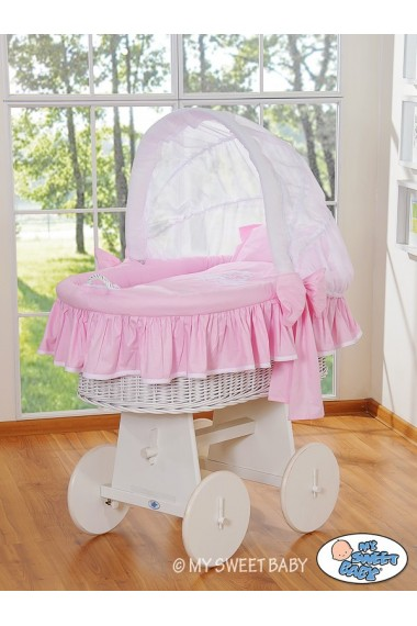 Berceau bébé Glamour osier - Rose-Blanc