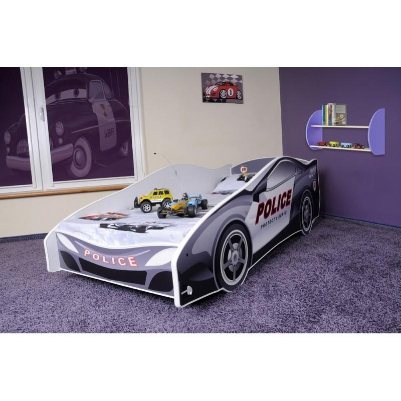 lit voiture de police avec matelas 180x80. Black Bedroom Furniture Sets. Home Design Ideas