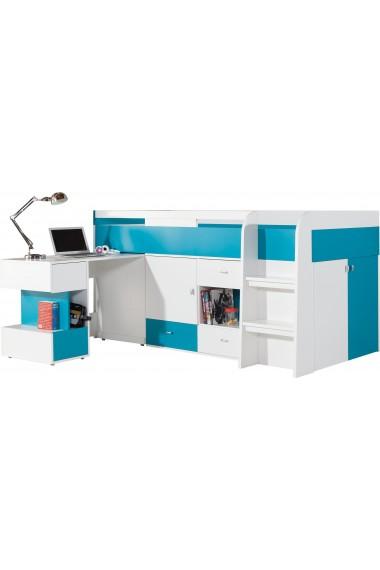 Lit mezzanine surélevé combiné avec bureau et commode Mobby 200x90 cm
