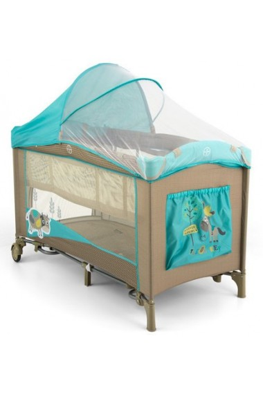 Lit parapluie avec table à langer Mirage Vache Bleue