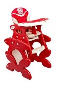chaise haute transformable en table et chaise rouge