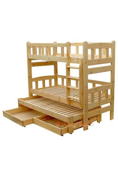 Lit superposé avec lit gigogne Nicolas 3 avec tiroirs 200x80 cm