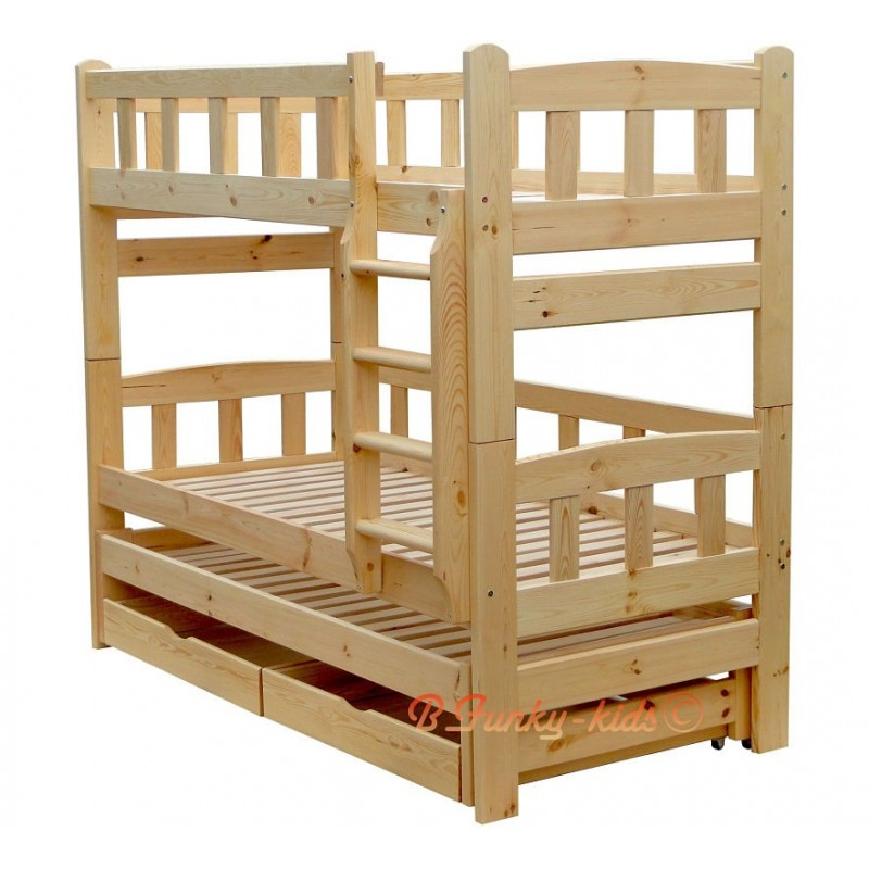 Lit superpos avec lit gigogne nicolas 3 avec tiroirs - Lit superpose avec lit gigogne ...