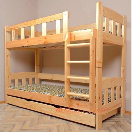 Lit superposé en bois massif Inez avec matelas et tiroir 180x90 cm